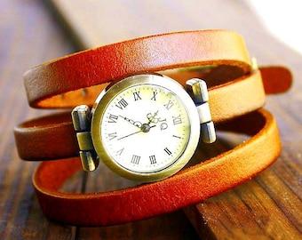 Leather bracelet, wristwatch in rust brown, wrap bracelet, unisex