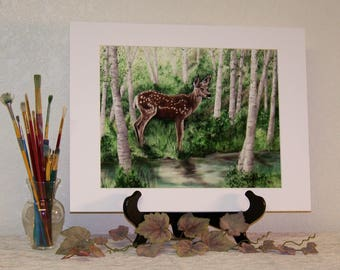 Baby Fawn Deer in Forest Matted Art print signed 11in x 14in
