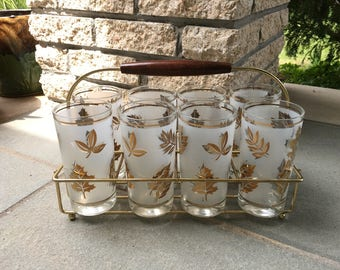Vintage Set of 8 Libby? Highball Glasses Frosted W/Gold Leaf Design And Caddy/Carrier
