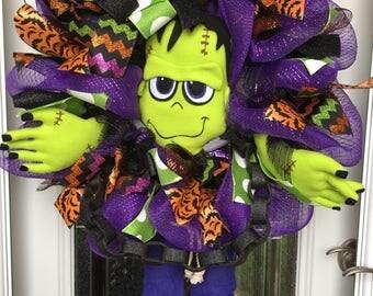 Frankenstein wreath, front door wreath, Halloween decor, Halloween wreath, fall wreath, fall decor, Frankenstein mesh wreath, Halloween