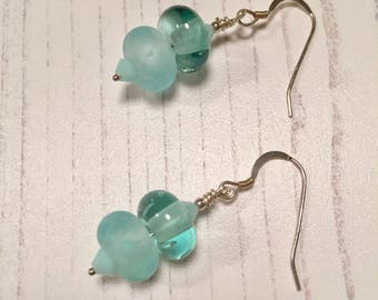 Icy Blues Lampwork Glass and Sterling Silver Earrings