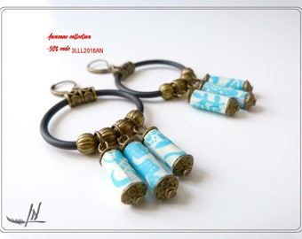 Hoop earrings, textile earrings, fabric Japanese patterns in turquoise, bronze beads