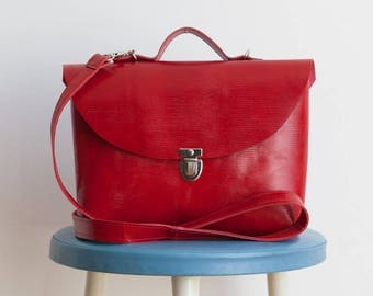 Bright red bag with handle