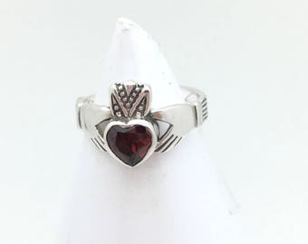 Sterling Silver Garnet Claddagh Ring