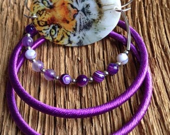 Clemson Tigers bangle set: Bengal tiger bracelet with thread wrapped bangles, purple bangle set, Clemson jewelry, Tiger jewelry, Clemson