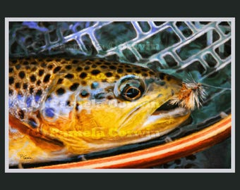 Brown trout in wooden net print: fly fishing art, brown trout decor, fly fishing trout painting print, fish decor, fly fishing decor, trout