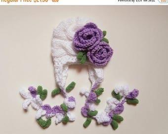 SALE 10% DISCOUNT Newborn Baby Girl Hat , Knit Baby Girl Hat , Baby Hat Photo Prop , Knit Baby Hat , Crochet Flower Hat ,Photo Prop