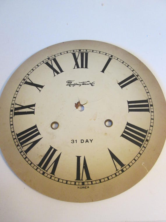 """Nice vintage 10"""" Montgomery Word & Co. Clock Dial for your Clock Projects - Steampunk Art"""