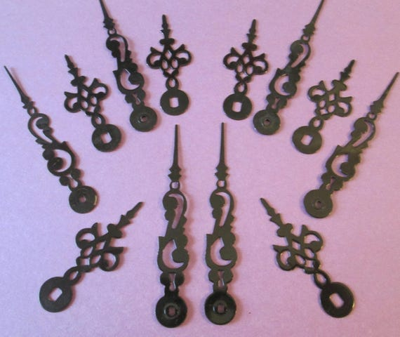 6 Pairs of Shiny Black Serpentine/Gothic Style Steel Clock Hands for your Clock Projects, Jewelry Crafts, Steampunk Art