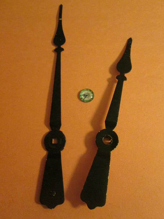 1 Pair of Large Black Painted Aluminum Spade Design Clock Hands  for your Clock Projects - Steampunk Art and Etc.