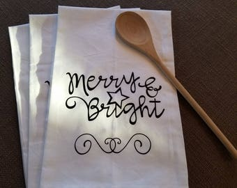Christmas Kitchen Towel, Merry and Bright, Christmas towel, tea towel, farmhouse, holidays kitchen towel
