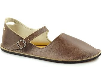 """Brown Mary Jane Flats - Handmade Leather Shoes - Minimalist Shoes - Leather Mary Janes - Minimal Shoes - Adult Softstar """"Merry Jane"""" Style"""