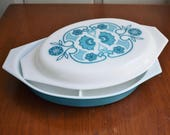 Pyrex Horizon Blue 1 1/2 Qt Divided Dish 963 Decorated Opal Lid, Boho Style Pyrex Turquoise Blue White Oval Casserole Vegetable, Apollo 11