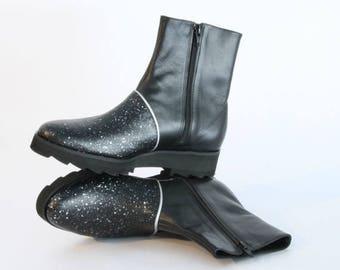 ON SALE Silver & Black Platform Boots - Women's Boots - Women's Ankle Boots - Women's Black Leather Boots - Black Platform Boots - Arama