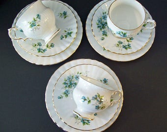 Vintage 1960's ROYAL STAFFORD COQUETTE – Three Trios – Cup and Saucer with Small Plate – Bone China – Made in England -