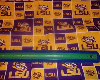 LSU Louisiana State University NCAA Cotton Fabric 1/2 Yard Cut New