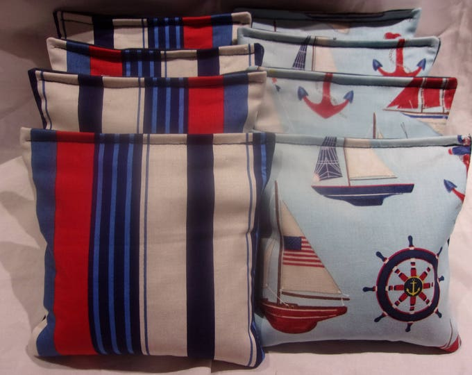 8 ACA Regulation Cornhole Bags - Ocean Sailboats Anchors and Red Blue and White Nautical Stripes