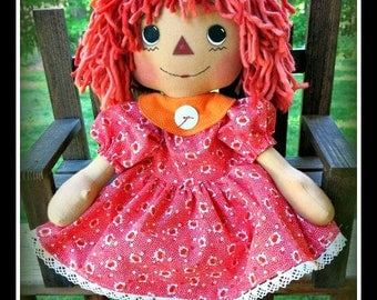 Handmade Primitive Raggedy Annie Doll vintage look dress