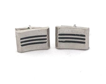 Silver Tone Rectangle Cufflinks, Minimalist Gray and Black Cufflinks, Vintage Embellished Cuff Links, Geometric Cufflinks Steampunk
