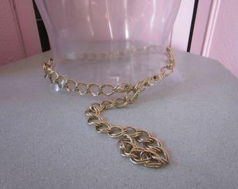 1980s Decorative Brass Chain Belt, Size S - M