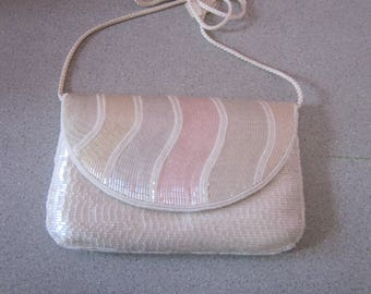 "1970s Ivory and Pastel Glass Beaded Envelope Clutch by ""La Regale"""
