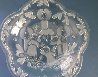 Vintage Serving Dish Christmas Serving Platter Angel Serving Dish Glass Serving Dish Angels Candles
