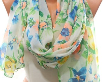 Floral Print Lightweight Silky Soft Chiffon Scarf Spring Summer Scarf Cover up Women's Fashion Accessories Gift Ideas For Her