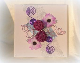Purple and mauve photo holder table