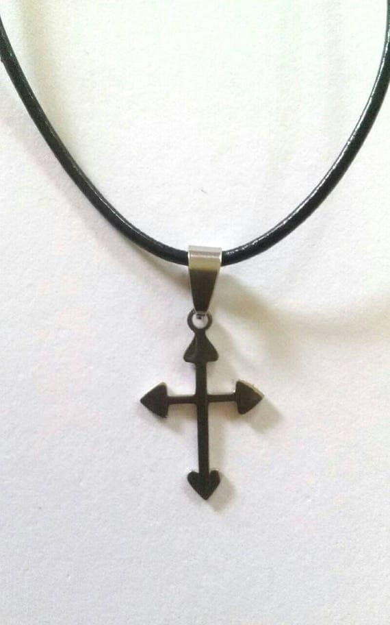 Cross Pendant Necklace, Black Necklace Cord with Silver Cross, Stainless Steel Cross Pendant, Unisex Cross Necklace, Religious Jewelry