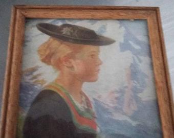 Small Vintage Oak Frame Print Tyrolese Girls H. Schlieben No 112