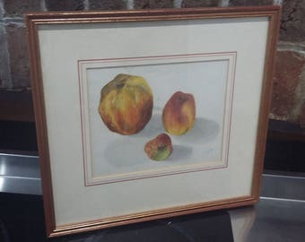 Original Drawing Painting of Fruit in Gilt Frame