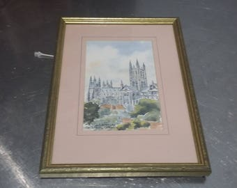 Vintage Print (maybe original) Canterbury Cathedral Kent