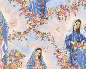 Virgin of Guadalupe Sky Cotton Timeless Treasures Fabric #6800 By the Yard