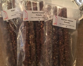 4 Pack Assorted Gourmet chocolate dipped pretzels with toppings Andes/walnuts/almonds/graham cracker