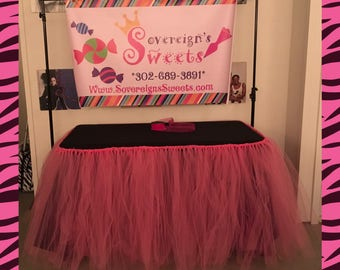 Pink Tulle Tutu Table Skirt Custom Table Skirting Wedding 1st Birthday Baby Shower Party Decoration Minnie Mouse My Little Pony shopkin