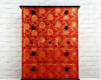 Stunning Upcycled Stag Chest of Drawers Red & Gold Jacquard Baroque Decoupage