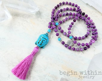 Sugilite Mala Beads | Buddha Mala Necklace with Tassel | Yoga Necklace