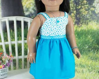 SUNDRESS Dress in Turquoise Blue Polka Dots with Belt JEWELRY and SANDALS Option for American Girl or 18 inch Doll