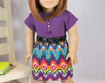 American Girl or 18 Inch Doll SKIRT in Purple Orange Turquoise  with Purple TEE Shirt Top Necklace and SHOES Option