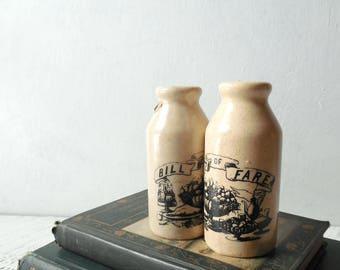 Milk Jug Salt & Pepper Shakers ~ Black and White Ceramic Milk Jug Shaped Pair, Country Cottage Vintage Kitchen Decor, Tableware  /0636