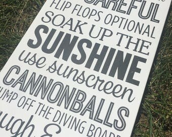 Pool Rules / Pool Rules Sign / Outdoor Sign / Pool Sign