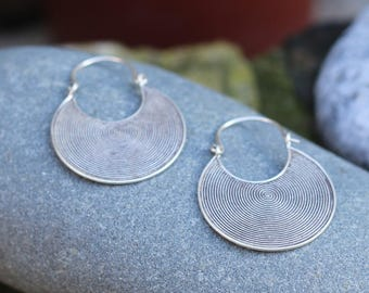 Thai Hill Tribe Silver, Spiral Earing, Silver Earing, Boho Silver, Karen Hill Tribe, Hoop Earing