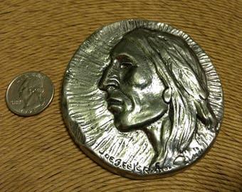 Scarce Vintage Artist Signed Joe Beeler Sculpture Medallion Native American Pewter Coin