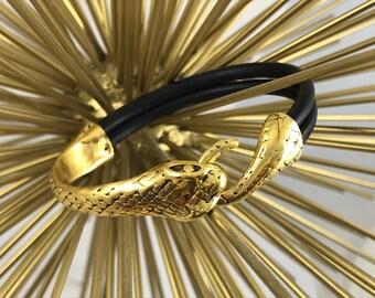 Black Leather Bracelet, Gold Tone Snake Clasp, Leather Bangle, Black and Gold,Unisex, Women's Leather Bracelet, Men's Leather Bracelet