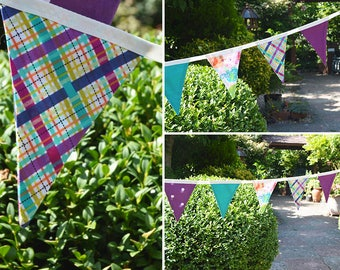 Handmade Fabric Bunting Orange/Turquoise/Mauve Elephant, Mauve Dots & Checks Design 12 Double-Sided Flags for Home, Parties and more!