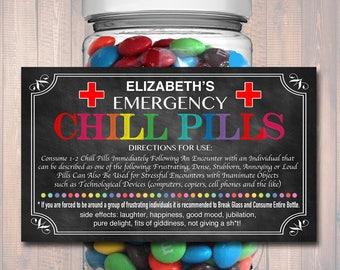 EDITABLE Chill Pills Label, Funny Gag Gift Professional Office Gift, Christmas Gift, Birthday Gift, Boss Gift, Cowork Gift Printable Label