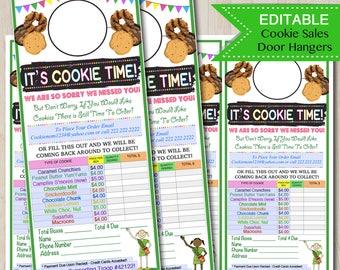 EDITABLE Cookie Door Hanger, INSTANT DOWNLOAD, Troop Leader Forms, Scout Printables, Cookies Sales, Printable Cookie Booth