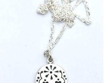 Skull jewelry, sterling silver sugar skull jewelry, dia de los muertos sugar skull necklace, bridesmaid necklace,silver charm