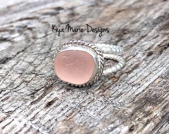 Sea Glass Ring, engagement ring, bezel set in fine & argentium silver, purple English sea glass, rare, Eco friendly, beach ocean jewelry,wom