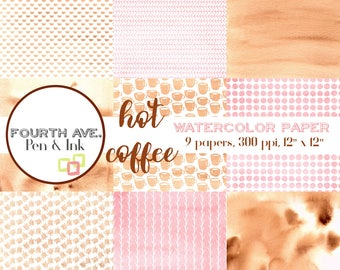 Brown and Pink Watercolor Digital Paper, Brown, Pink, Coffee, Watercolor, Digital Paper Pack, Scrapbook Paper, Digital Paper Pack